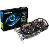Hersteller: Gigabyte, GPU Modell: GeForce GTX 660, Edition: OC 2xWindforce, Fertigungsprozess: 28nm, Schnittstelle: PCIe 3.0 x16, GPU Anzahl: Single GPU, GPU Takt: 1033MHz, Grafikspeicher Taktfrequenz: 1502MHz (6008MHz , GDDR5), Grafikspeicher Anbindung: 192Bit, Grafikspeichertyp: GDDR5, Gr�sse des Grafikspeichers: 2048MB, Shader Model: 5.0, Shadertakt: 1033MHz, Direct X Version: 11.0, OpenGL Version: 4.2, Codename: GK106, Anzahl der Streamprozessoren: 960 Einheiten, K�hlung der Grafikkarte: Aktiv, Stromversorgung: 1x 6pin, Verpackung: Retail, Max. Stromverbrauch: 140W, Grafikkarten Bauform: Dual Slot, Anschl�sse der Grafikkarte: 2xDVI / 1xHDMI / , 1xDisplayPort, Besonderheiten: HDCP / nVIDIA 3way SLI