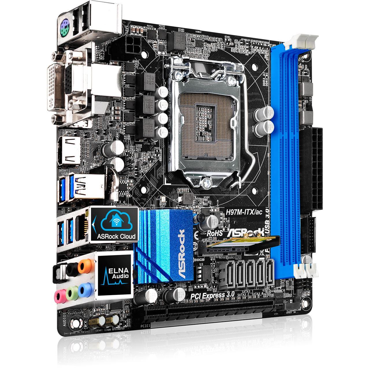 ASRock H97M-ITX/ac Intel H97 So.1150 Dual Channel DDR3 ...