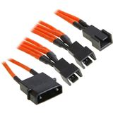 BitFenix Molex zu 3x 3-Pin 7V Adapter 20cm - sleeved orange/schwarz