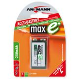 ANSMANN maxE 9V / E Block Nickel-Metall-Hydrid 270 mAh 1er Pack