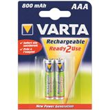 Varta® Akku (READY 2 USE) Ni-MH Micro (AAA) 1,2V 800mA (56703), 2er Pack in Blister