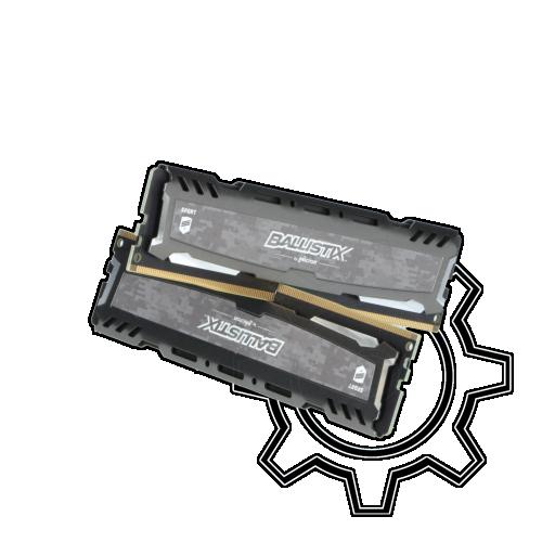 360 - 8GB Crucial Ballistix Sport LT grau DDR4-2400 DIMM CL16 Dual Kit