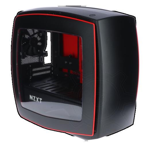 360 - NZXT Manta mit Sichtfenster ITX Tower ohne Netzteil schwarz/rot